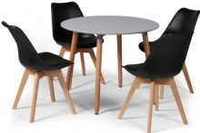 Toulouse Dining Set  - 90cms Round Grey Table & 4 Black Chairs
